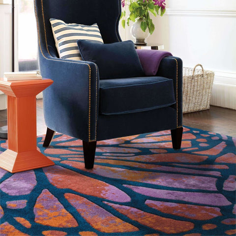 Prismatic Blue Red Abstract Rug