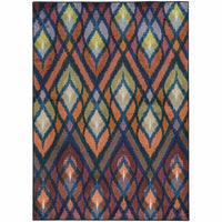 Prismatic Orange Blue Geometric Rug - Free Shipping