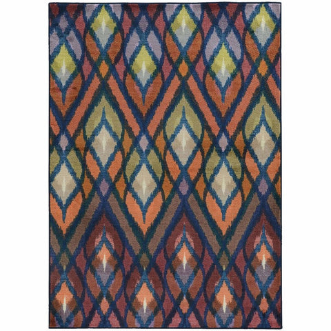 Oriental Weavers Prismatic Orange Blue Geometric Rug
