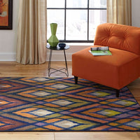 Area Rugs - Prismatic Orange Blue Geometric Rug