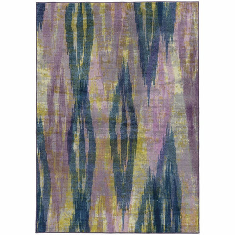 Prismatic Purple Blue Abstract Rug