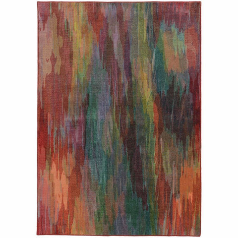Prismatic Red Orange Abstract Rug