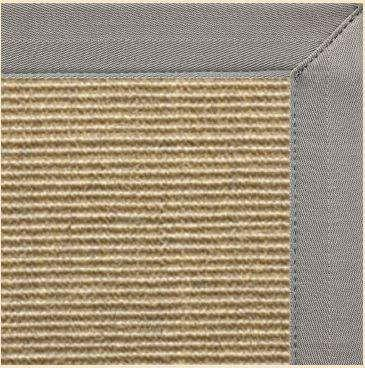 Bone Colored Sisal Area Rug with Coin Canvas Border