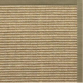 Bone Sisal Rug with Basil Green Cotton Border