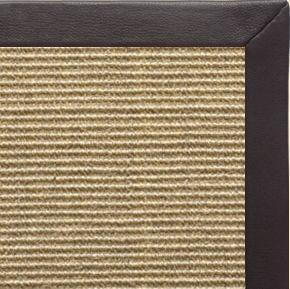 Bone Sisal Rug with Black Leather Border - Free Shipping