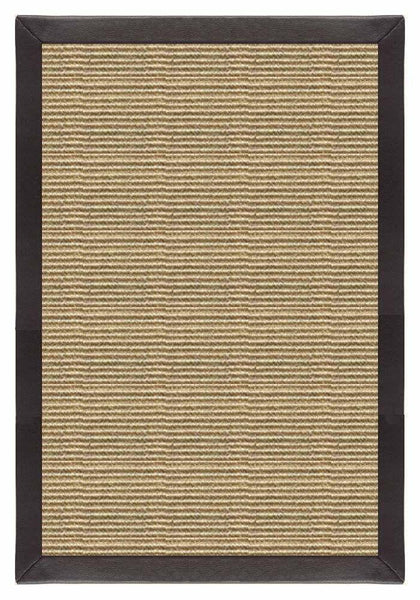 Area Rugs - Sustainable Lifestyles Bone Sisal Rug With Black Leather Border