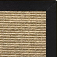 Bone Sisal Rug with Black Onyx Cotton Border - Free Shipping