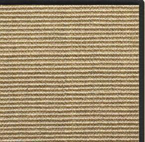 Bone Sisal Rug with Black Serged Border