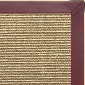Bone Sisal Rug With Burgundy Leather Border