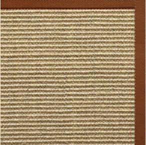 Bone Sisal Rug with Burnt Sienna Cotton Border