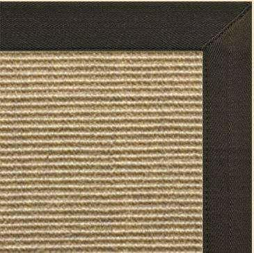 Bone Sisal Rug with Canvas Chocolate Border