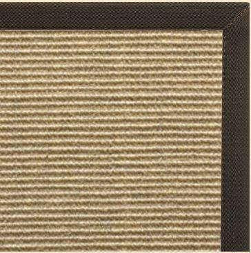 Bone Sisal Rug with Canvas Chocolate Border - Free Shipping