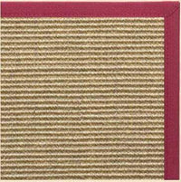 Bone Sisal Rug with Canvas Maroon Border - Free Shipping