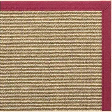 Bone Sisal Rug with Canvas Maroon Border