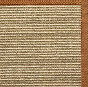 Bone Sisal Rug with Caramel Cotton Border
