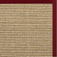Bone Sisal Rug with Cardinal Red Cotton Border - Free Shipping
