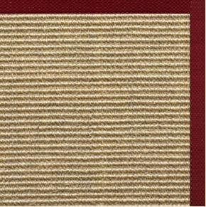 Bone Sisal Rug with Cardinal Red Cotton Border