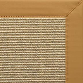 Bone Sisal Rug with Chamois Faux Leather Border