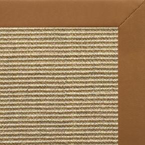 Bone Sisal Rug with Cinnamon Faux Leather Border