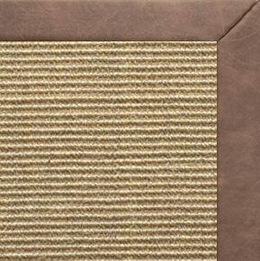 Bone Sisal Rug with Coco Faux Leather Border