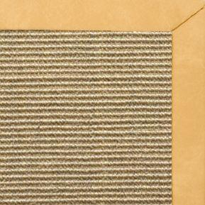 Bone Sisal Rug with Gold Faux Leather Border