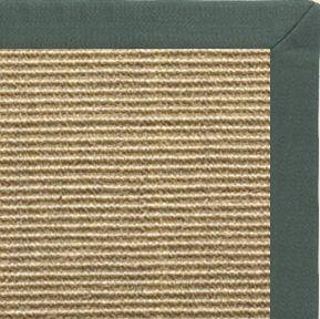 Bone Sisal Rug with Green Linen Border