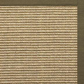 Bone Sisal Rug with Khaki Green Cotton Border