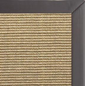 Bone Sisal Rug with Midnight Faux Leather Border