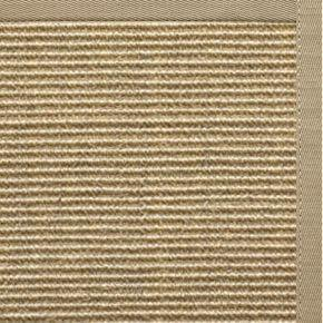 Bone Sisal Rug with Moon Rock Gray Cotton Border