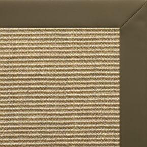 Bone Sisal Rug with Moss Faux Leather Border