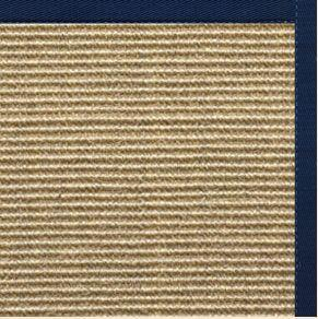 Bone Sisal Rug with Navy Blue Cotton Border