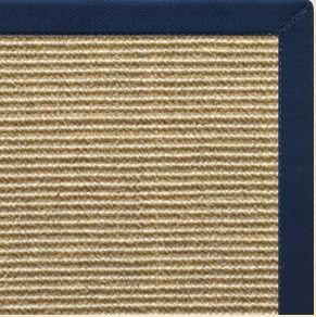 Bone Sisal Rug with Navy Blue Cotton Border - Free Shipping