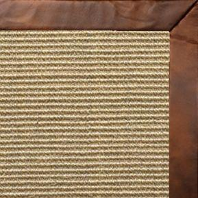 Bone Sisal Rug with Oak Leather Border - Free Shipping