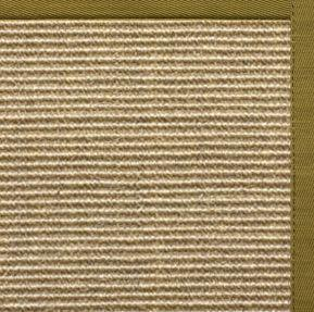 Bone Sisal Rug with Olive Green Cotton Border
