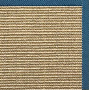 Bone Sisal Rug With Paradise Blue Cotton Border