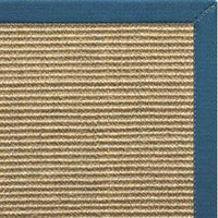 Bone Sisal Rug with Paradise Blue Cotton Border - Free Shipping