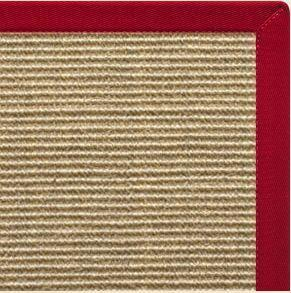 Bone Sisal Rug with Poppy Cotton Border - Free Shipping