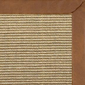 Bone Sisal Rug with Rawhide Faux Leather Border - Free Shipping