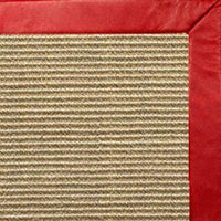 Bone Sisal Rug with Red Leather Border - Free Shipping