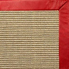 Bone Sisal Rug with Red Leather Border