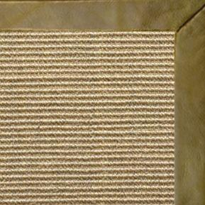 Bone Sisal Rug with Sage Leather Border