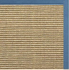 Bone Sisal Rug with Slate Blue Cotton Border