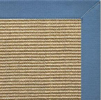 Bone Sisal Rug with Slate Blue Cotton Border - Free Shipping