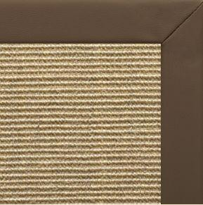 Bone Sisal Rug with Stone Faux Leather Border