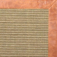 Bone Sisal Rug with Tan Leather Border - Free Shipping