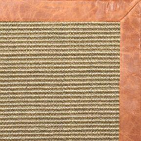 Bone Sisal Rug with Tan Leather Border