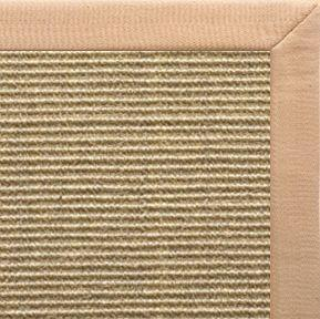 Bone Sisal Rug with Tan Linen Border