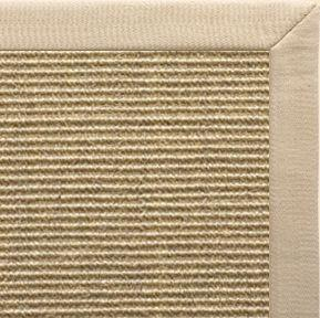 Bone Sisal Rug with Taupe Linen Border