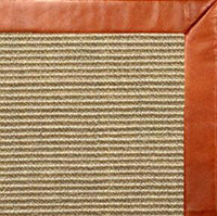 Bone Sisal Rug with Whiskey Leather Border - Free Shipping