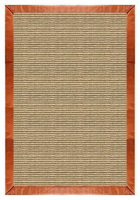 Area Rugs - Sustainable Lifestyles Bone Sisal Rug With Whiskey Leather Border